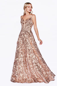 Metallic Embroidered Ball Gown Style #LACR842 | Prom 2020