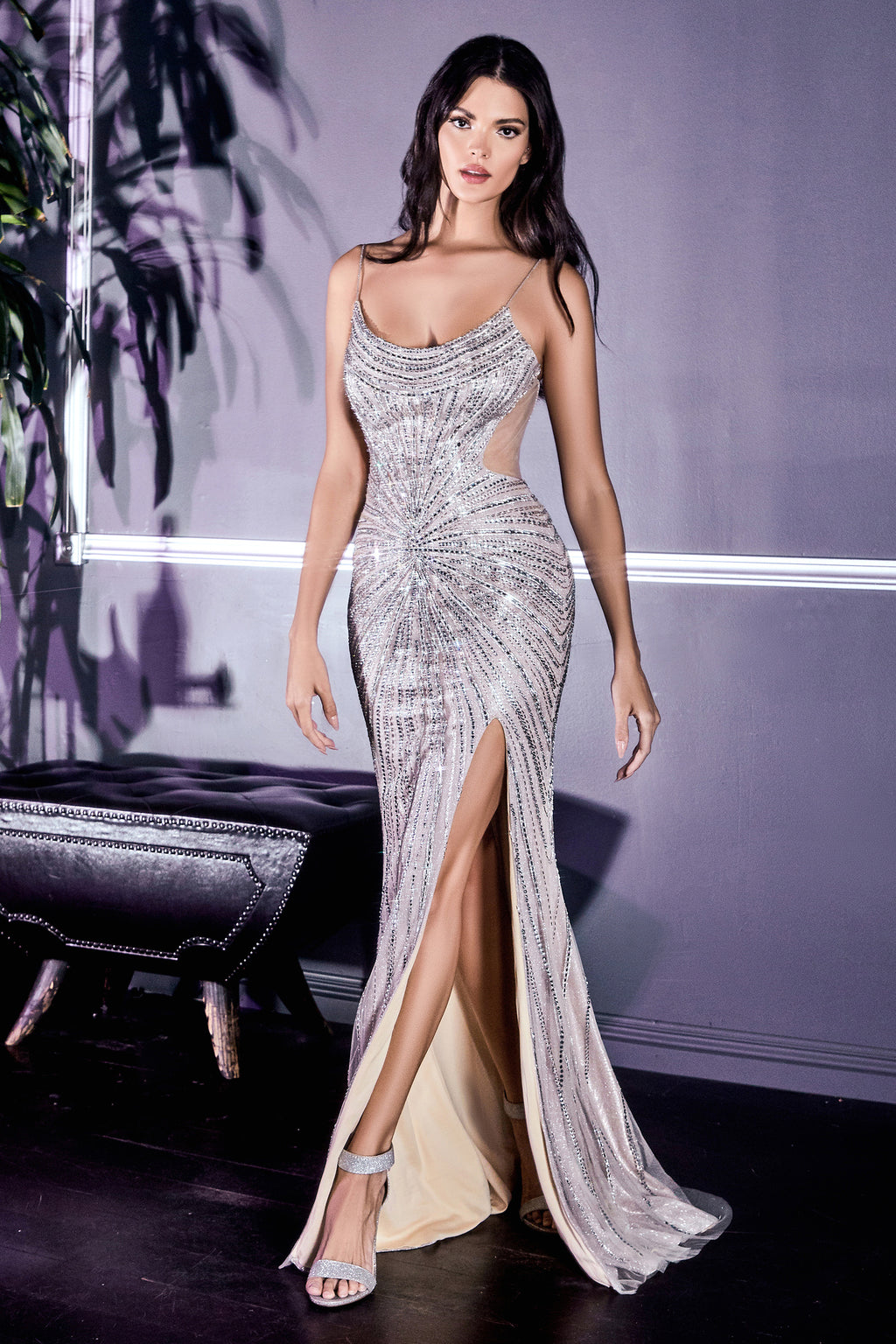 Elegant Swoop Neckline Gown with Glitter Detailing and Leg Slit #CDCR859