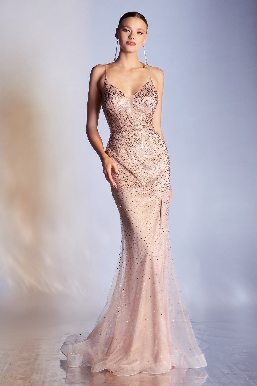 Gorgeous V-Neckline Fitted Gown with Rhinestone Detailing and Leg Slit #CDCR861