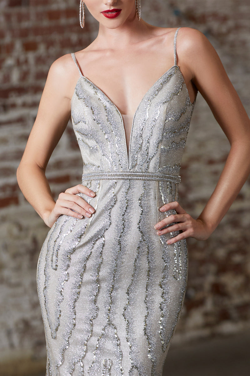 Crystal & Sequin Mermaid Dress Style #LACW855 | Prom 2020