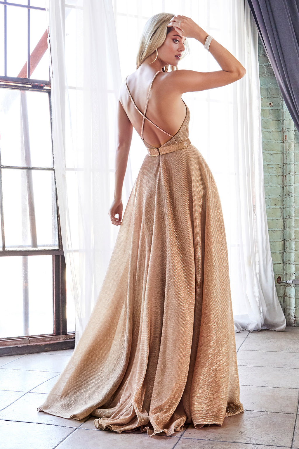 Rose Gold Shimmering Gown Style #LACW167 | Prom 2020