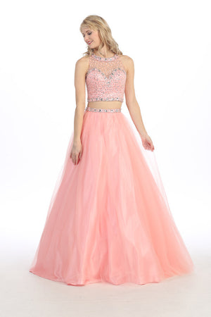 SEXY TWO PIECE PROM DRESS WITH CRYSTAL EMBROIDERY STYLE #EKA3300 - NORMA REED - 3