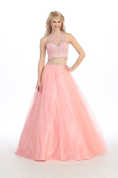 SEXY TWO PIECE PROM DRESS WITH CRYSTAL EMBROIDERY STYLE #EKA3300