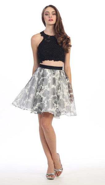 SHORT TWO PIECE DRESS FEATURING A FLORAL PRINT ON CHIFFON STYLE #EKA4200