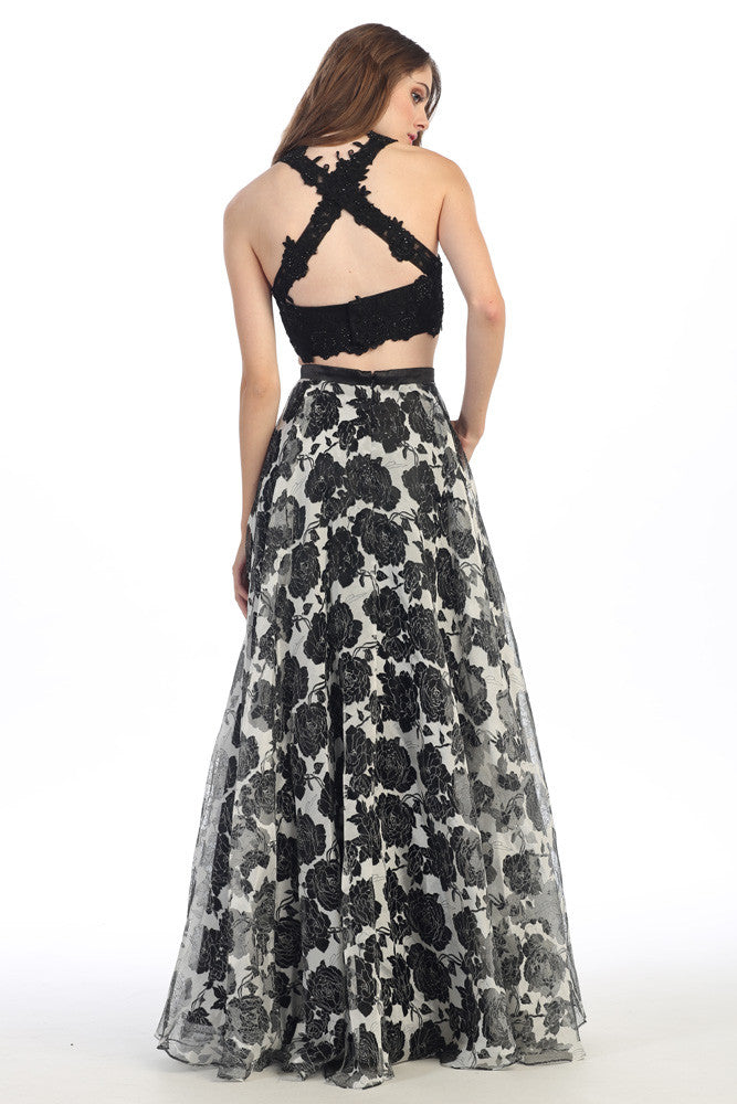 LONG TWO PIECE DRESS WITH LACE & CHIFFON STYLE #EKA4222 - NORMA REED - 3