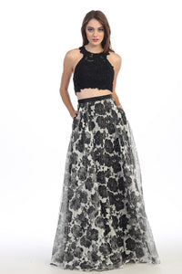 LONG TWO PIECE DRESS WITH LACE & CHIFFON STYLE #EKA4222 - NORMA REED - 2