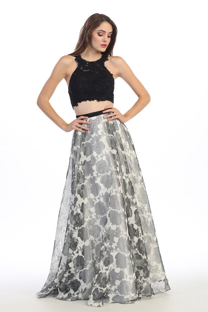 LONG TWO PIECE DRESS WITH LACE & CHIFFON STYLE #EKA4222 - NORMA REED - 1