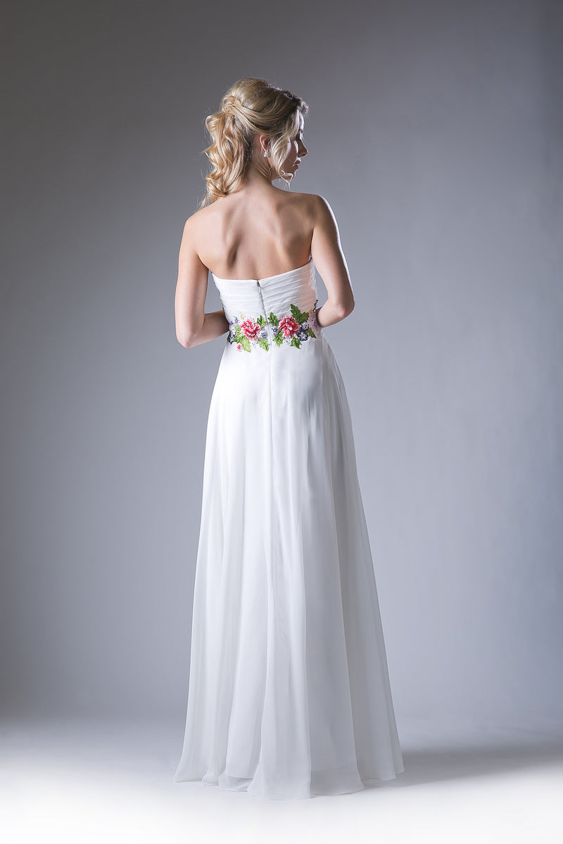 Off White Chiffon Dress with Lace Embroidery and Sweetheart Neckline