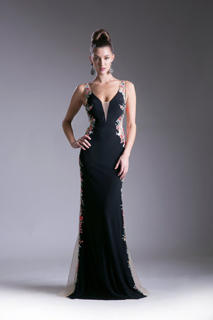 Long Dress with Lace Embroidery and a Side Sheer Split