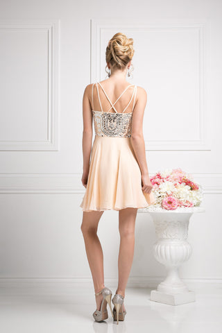 SHORT CHIFFON DRESS WITH CRYSTAL EMBROIDERY STYLE #CNDJ745