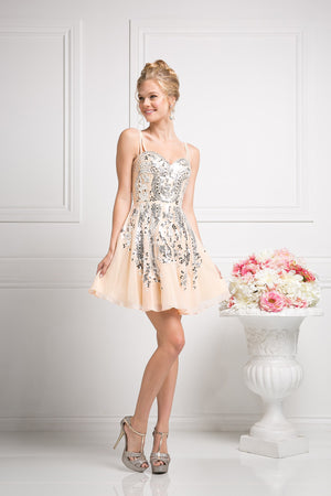 SHORT CHIFFON DRESS WITH CRYSTAL EMBROIDERY STYLE #CNDJ745 - NORMA REED - 1
