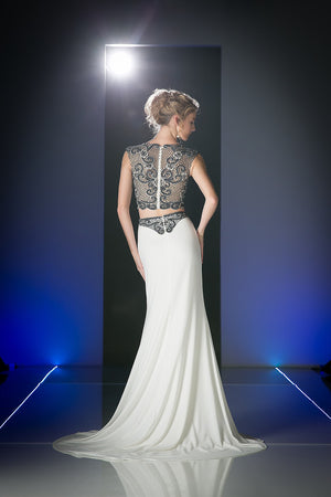 LONG SEXY TWO PIECE DRESS WITH LACE & CRYSTAL STYLE #CNDJ755 - NORMA REED - 2