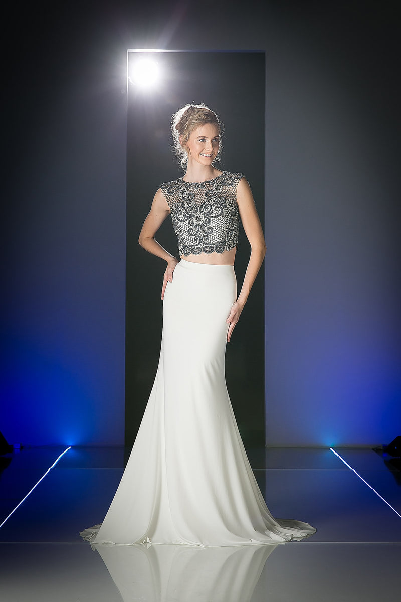 LONG SEXY TWO PIECE DRESS WITH LACE & CRYSTAL STYLE #CNDJ755 - NORMA REED - 1