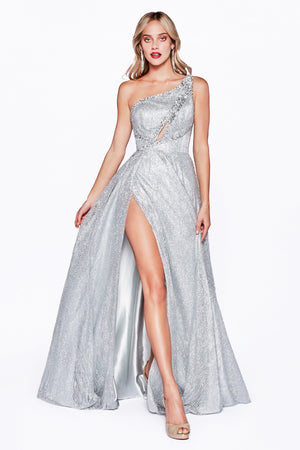 Shimmering One Shoulder Ball Gown Style #LAJ782 | Prom 2020