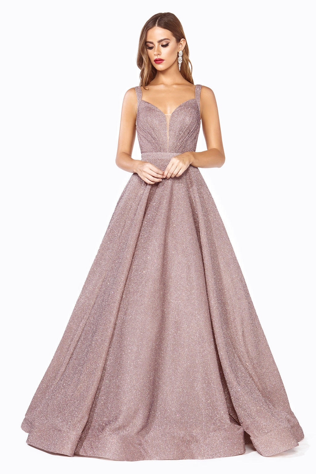 Classic Ball Gown With Shimmering Silver Flakes Style #LAJ792