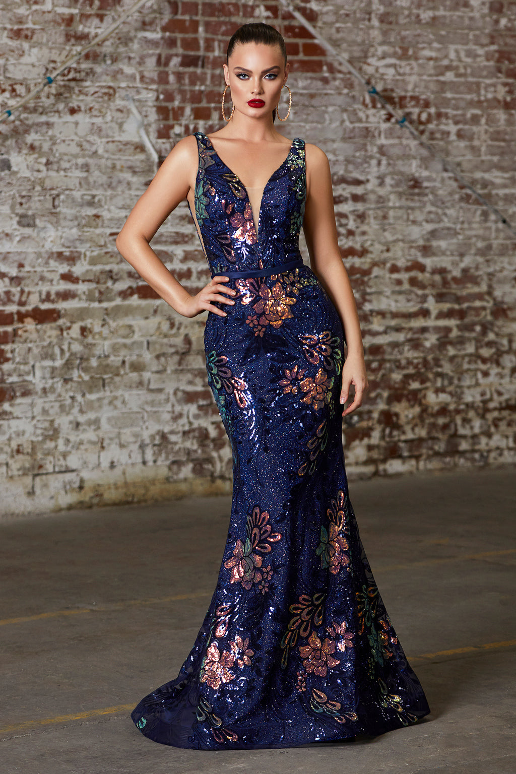 Shimmering Sequin Mermaid Gown With Floral Design Style #LAJ797 | Prom 2020