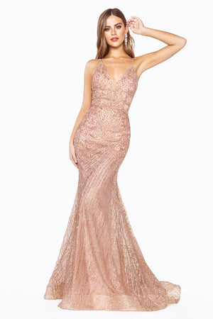Lace Embroidered Rose Gold Sequin Mermaid Gown Style #LAJ8754 | Prom 2020