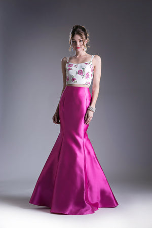 Two Piece Satin Gown with Floral Embroidered Top Style #CAKC1737