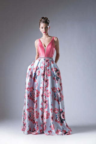 V Neck Flowing Floral Print Gown Style #CAKC1794