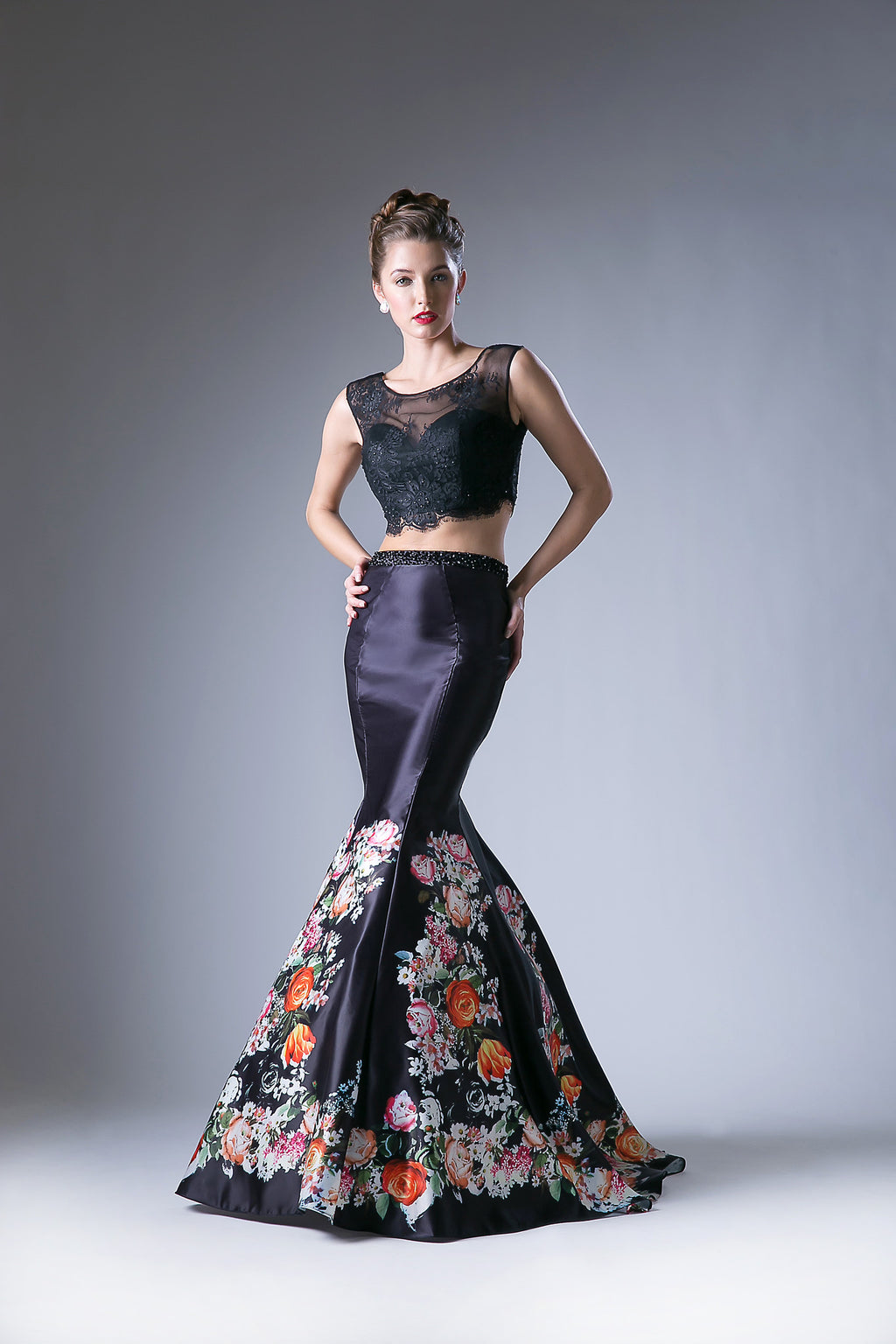 Two Piece Gown Featuring a Lace and Sheer Top and Floral Print Skirt Style #CAKC1808