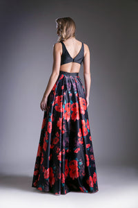 Flowing Floral Print Gown Style #CAKC1809