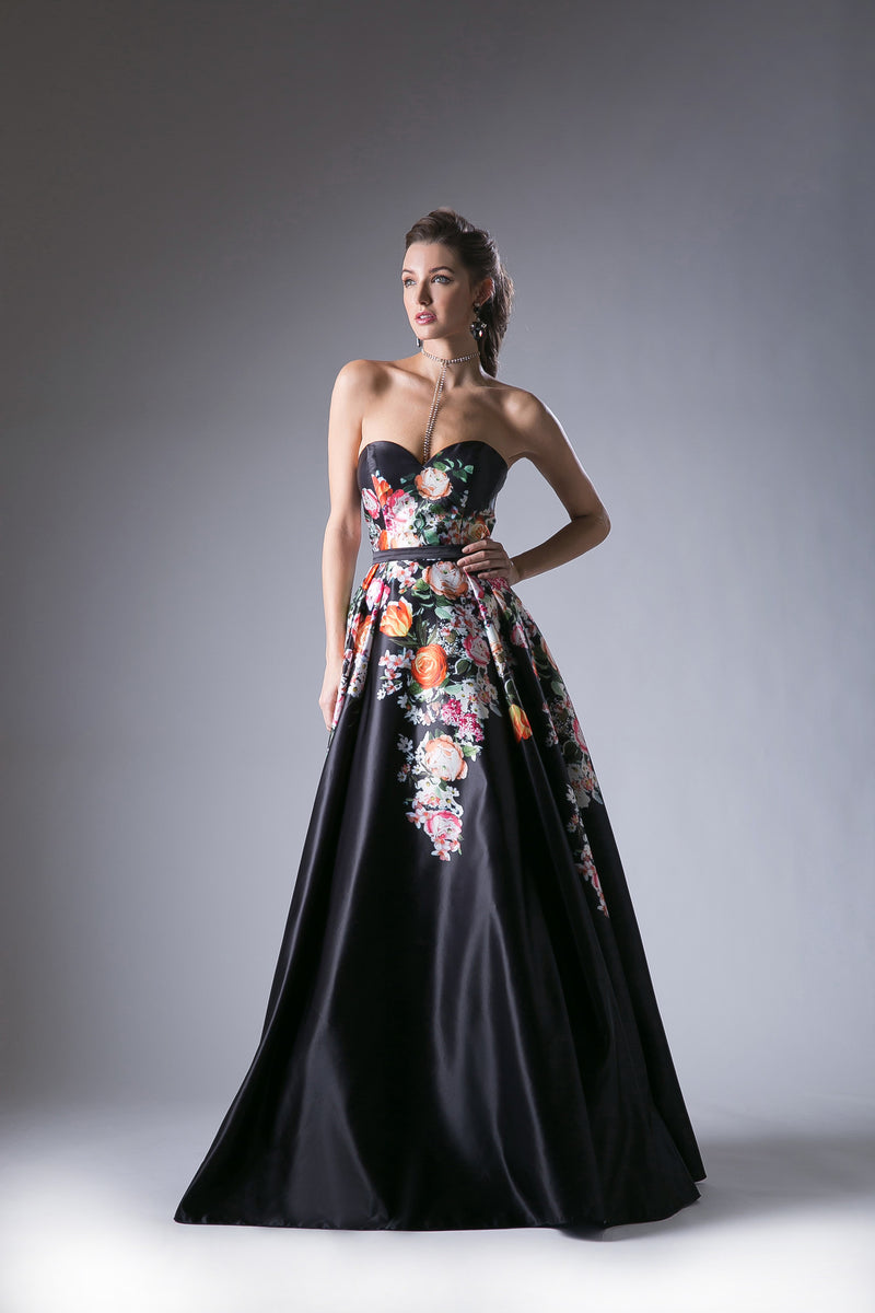 Floral Print Satin Ball Gown with Sweetheart Neckline Style #CAKC1810