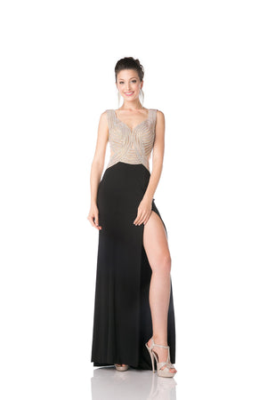 LONG CHIFFON DRESS WITH CRYSTAL STYLE #CNDKD009 - NORMA REED - 5