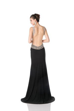 LONG CHIFFON DRESS WITH CRYSTAL STYLE #CNDKD009 - NORMA REED - 6
