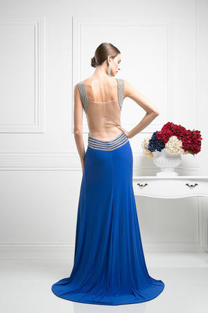 LONG CHIFFON DRESS WITH CRYSTAL STYLE #CNDKD009 - NORMA REED - 2