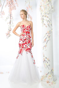 LONG MERMAID GOWN WITH LACE & LOW NECKLINE STYLE #CNDKD080 - NORMA REED - 1