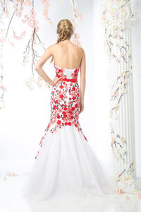 LONG MERMAID GOWN WITH LACE & LOW NECKLINE STYLE #CNDKD080 - NORMA REED - 2