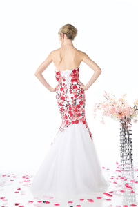 LONG MERMAID GOWN WITH LACE & LOW NECKLINE STYLE #CNDKD080 - NORMA REED - 4