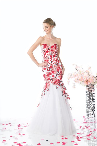 LONG MERMAID GOWN WITH LACE & LOW NECKLINE STYLE #CNDKD080