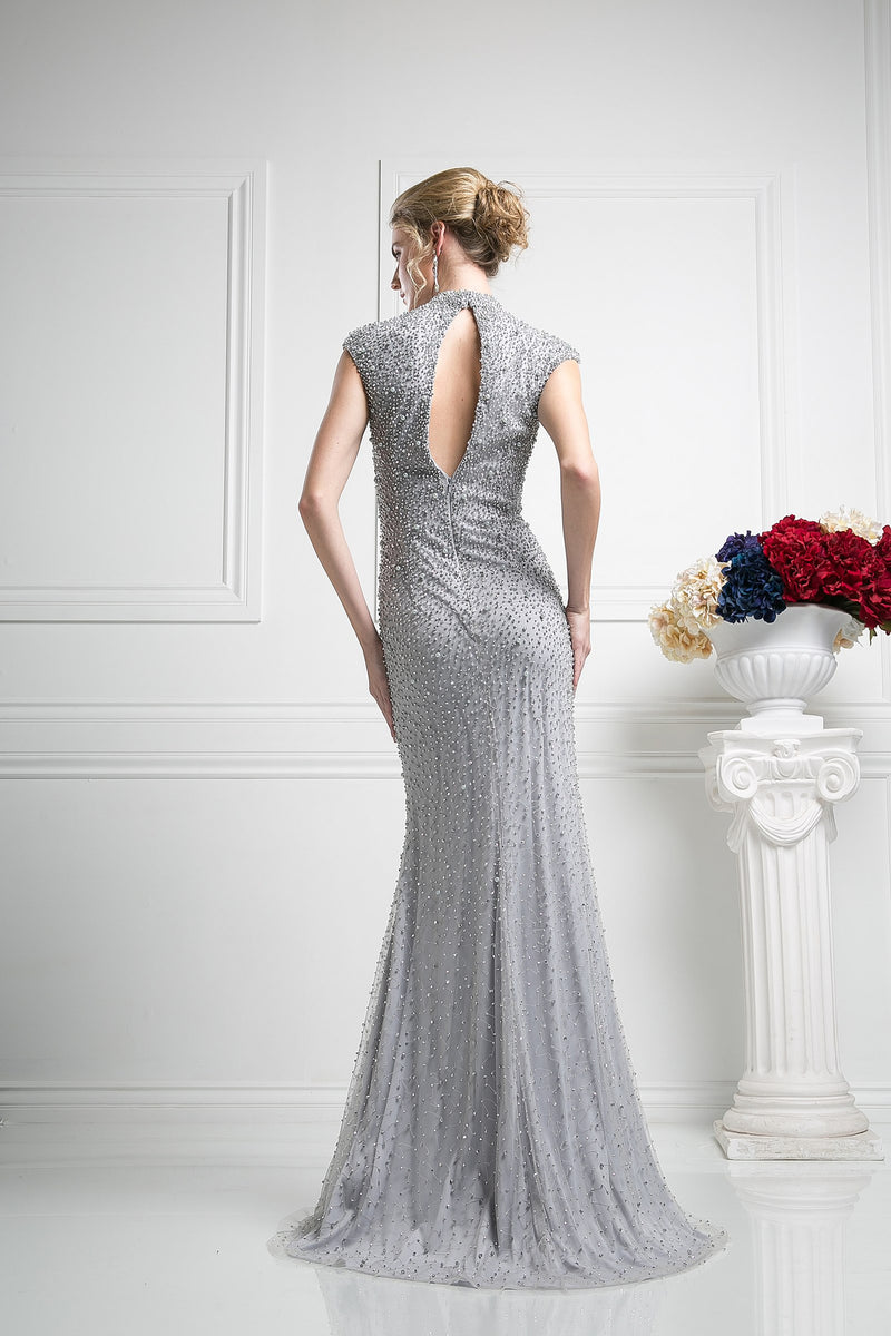 LONG DRESS EMBROIDERED WITH AUSTRIAN CRYSTAL STYLE #CNDKD085 - NORMA REED - 2