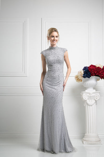 LONG DRESS EMBROIDERED WITH AUSTRIAN CRYSTAL STYLE #CNDKD085