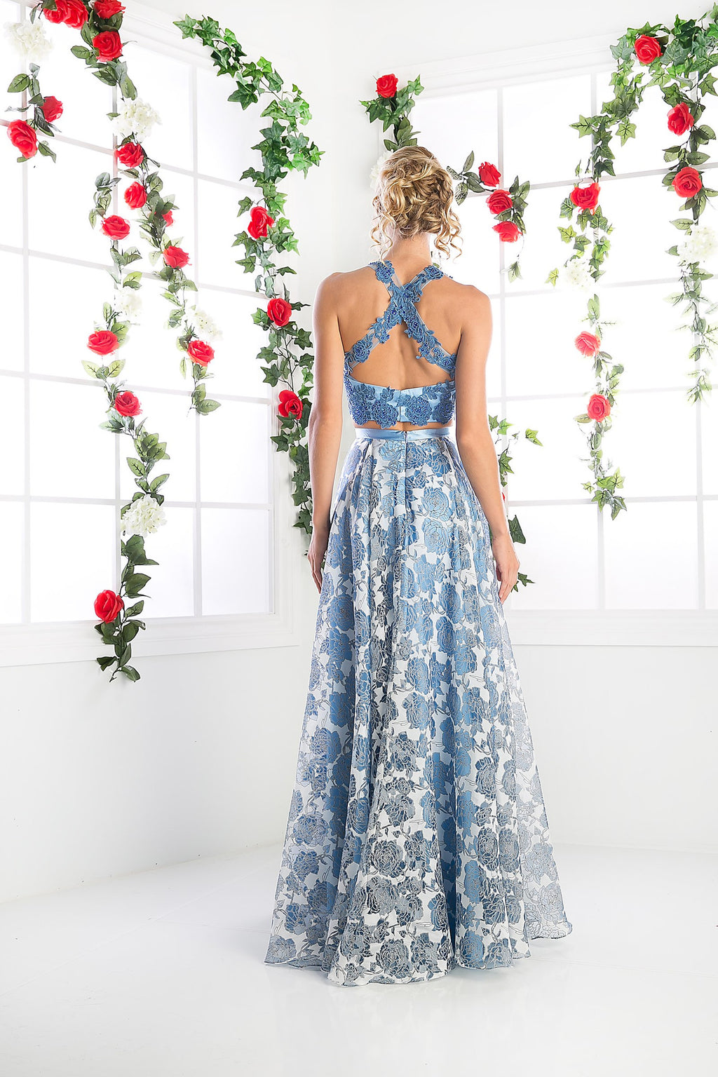 LONG TWO PIECE DRESS WITH LACE AND FLOWING CHIFFON STYLE #CNDKD099 - NORMA REED - 1