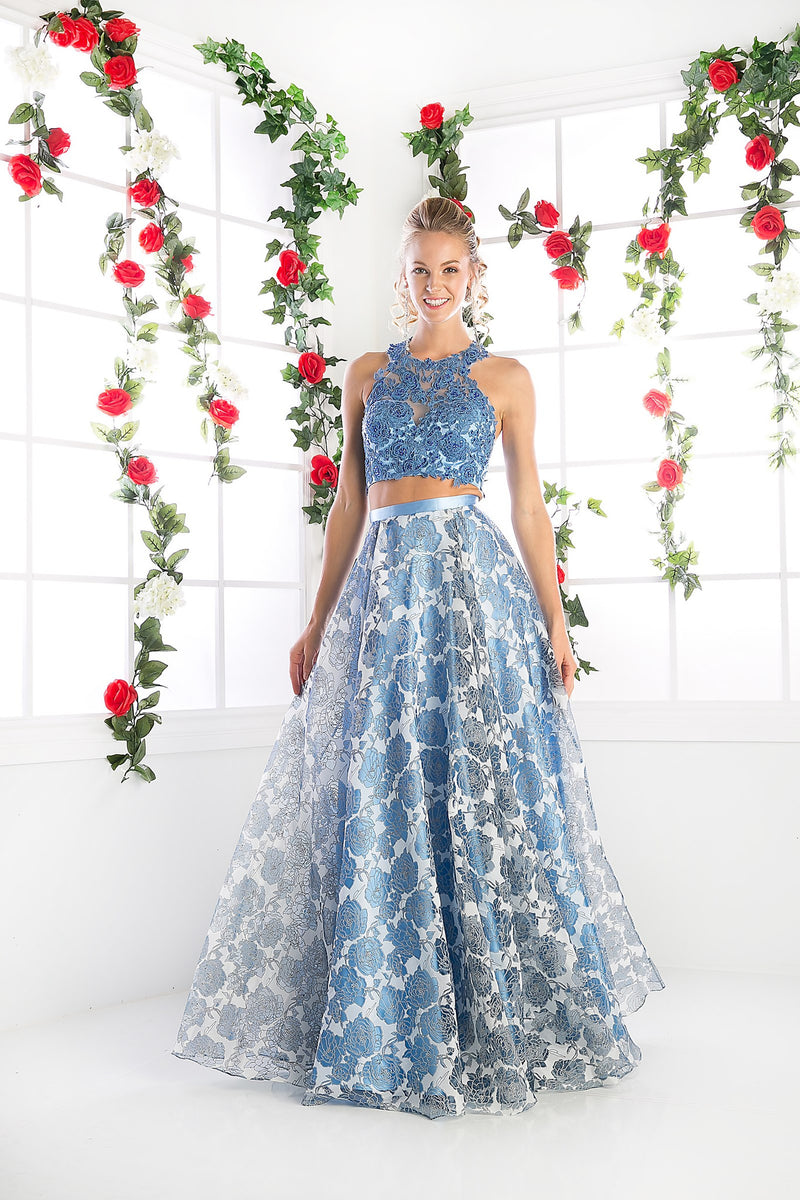 LONG TWO PIECE DRESS WITH LACE AND FLOWING CHIFFON STYLE #CNDKD099 - NORMA REED - 2
