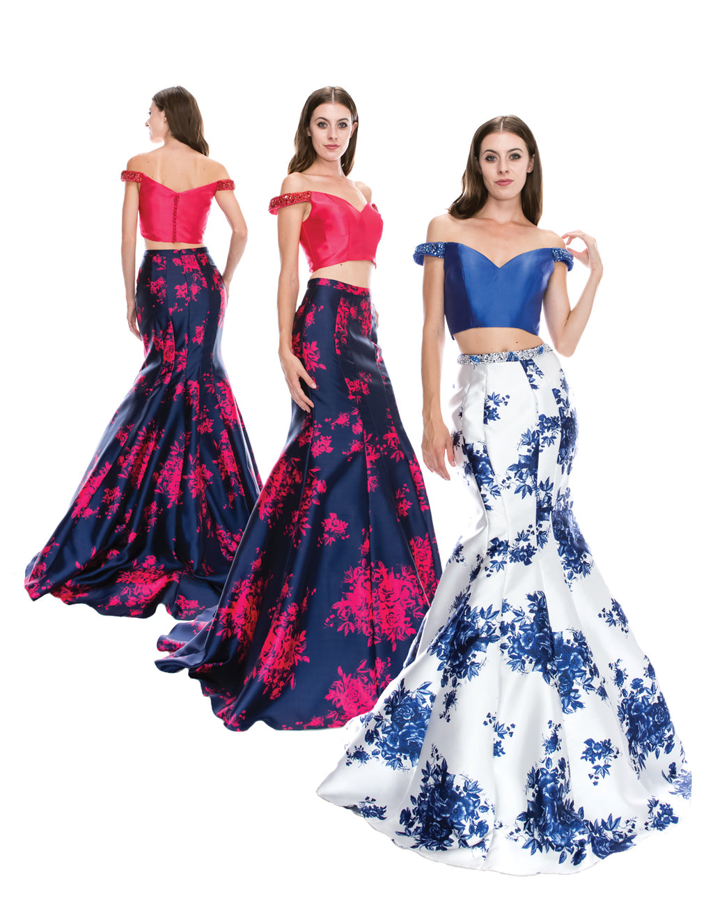 Sexy Off Shoulder Two Piece Floral Mermaid Dress | Norma Reed