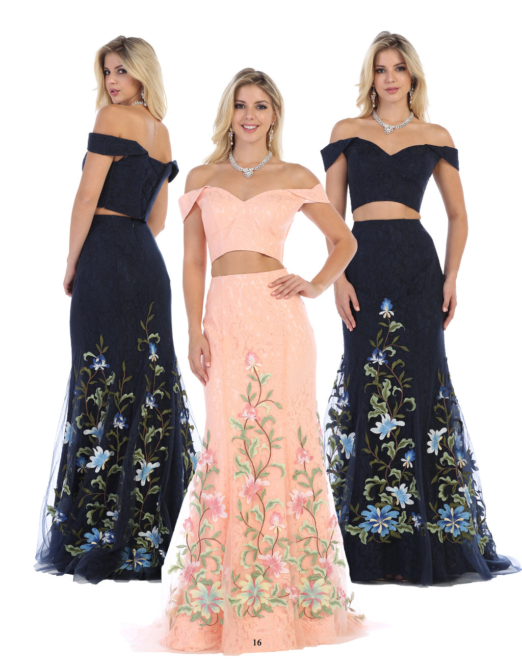 Sexy Floral Lace Embroidered Two Piece Off Shoulder Dress | Norma Reed