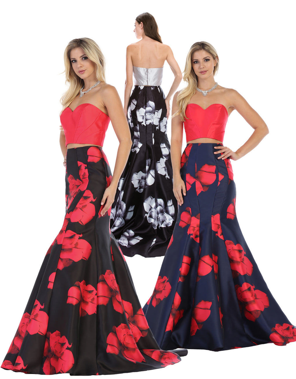 Satin Off Shoulder Two Piece Dress With Floral Print | Norma Reed