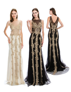 Flowing Chiffon Dress With Crystal & Gold Lace Embroidery | Norma Reed