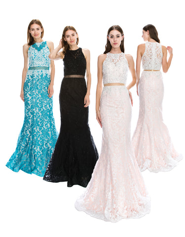 Heavy Lace Halter Mermaid Dress With Sheer Midriff | Norma Reed