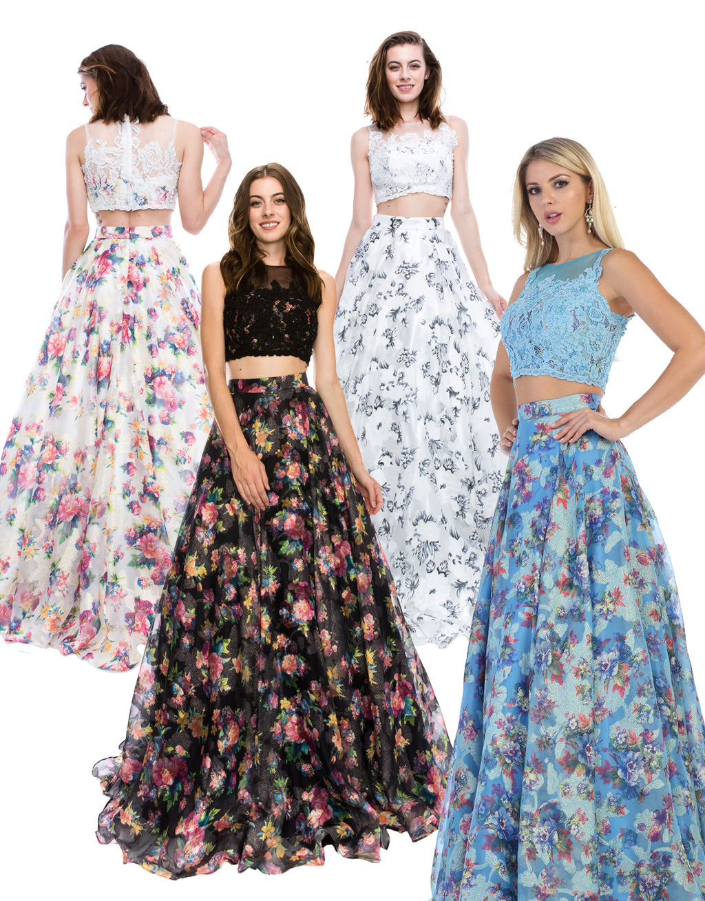 Floral Print Two Piece Ball Gown With Lace Embroidery | Norma Reed