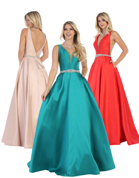 Satin Ball Gown With Sheer Inserts & Open Back | Norma Reed