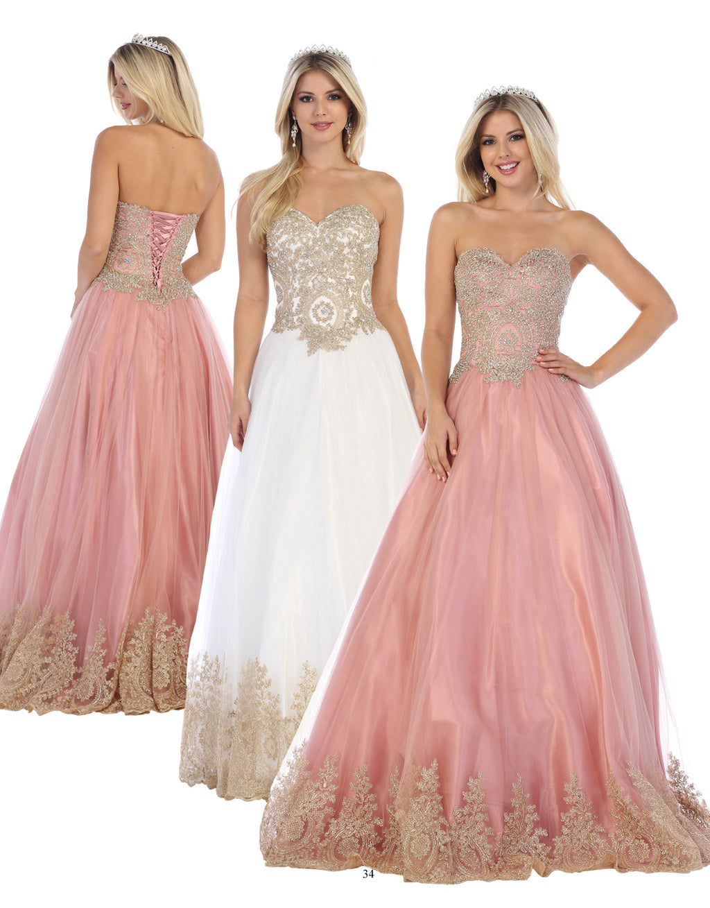 Princess Ball Gown With Lace & Austrian Crystal Embroidery | Norma Reed