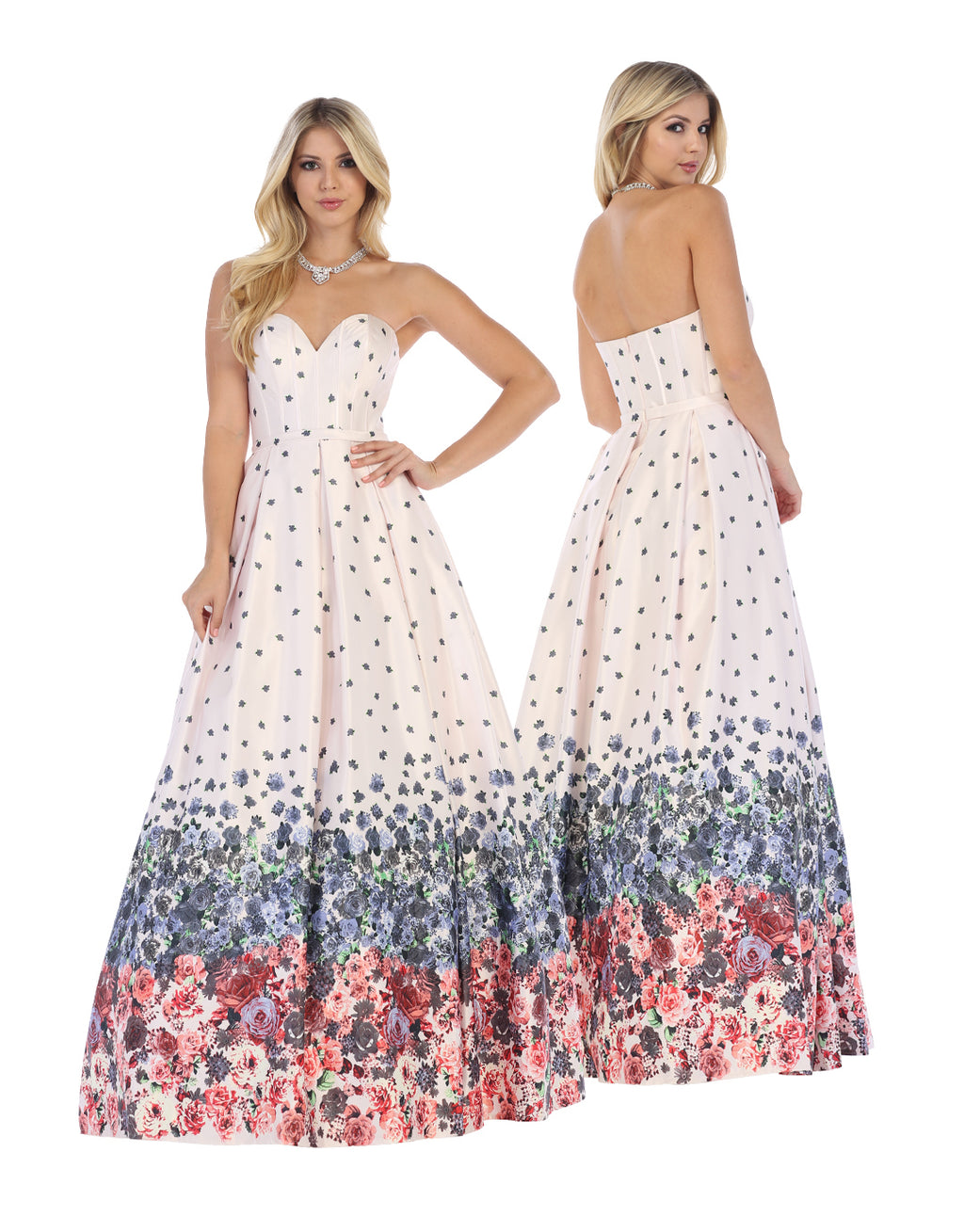 Classic Off Shoulder Gown With Ombre Floral Design | Norma Reed