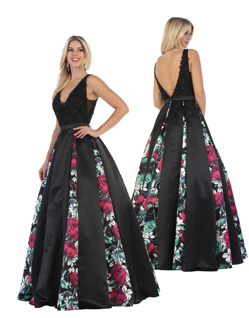 Black Floral Ball Gown With Black Crystal & Open Back | Norma Reed