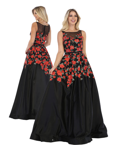 Black Rose Flowing Ball Gown | Norma Reed