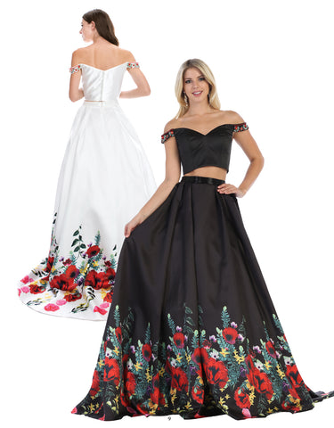 Off Shoulder Two Piece Flowing Floral Gown | Norma Reed