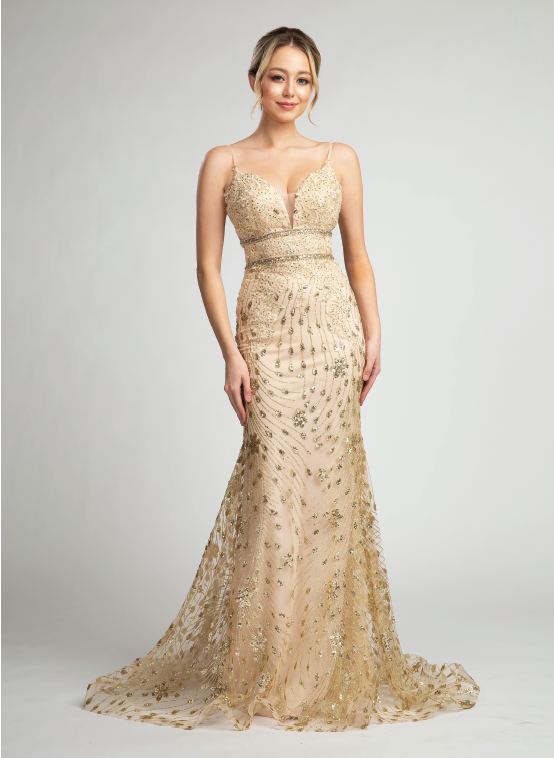 Stunning V-Neck Fitted Gown with Glitter Design #FA040171
